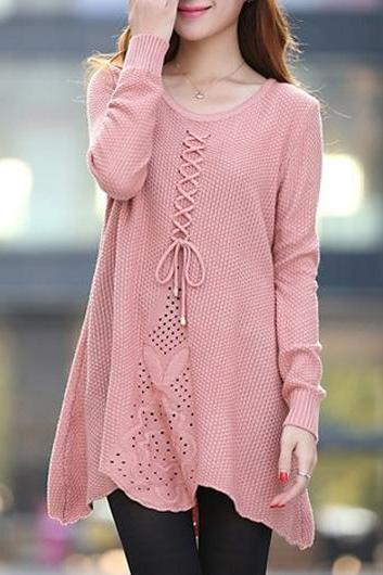 Cute Long Sleeve Round Neck Woman Sweater - Pink