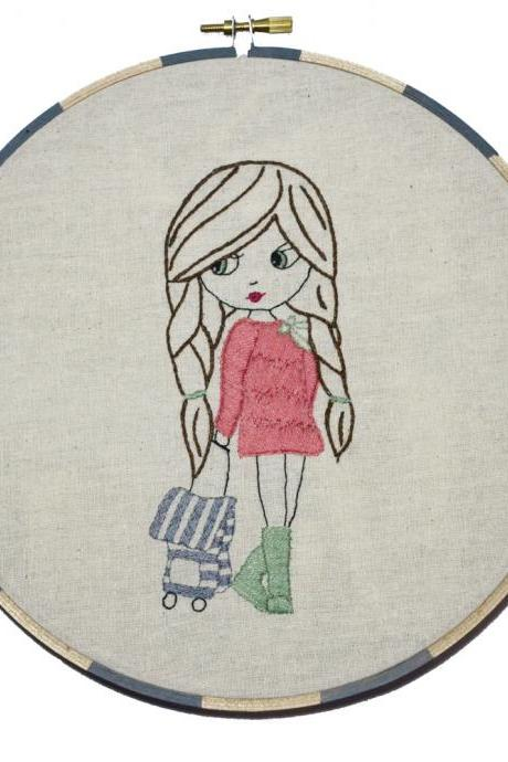 Adventure Girl, Hand Embroidery PDF Pattern