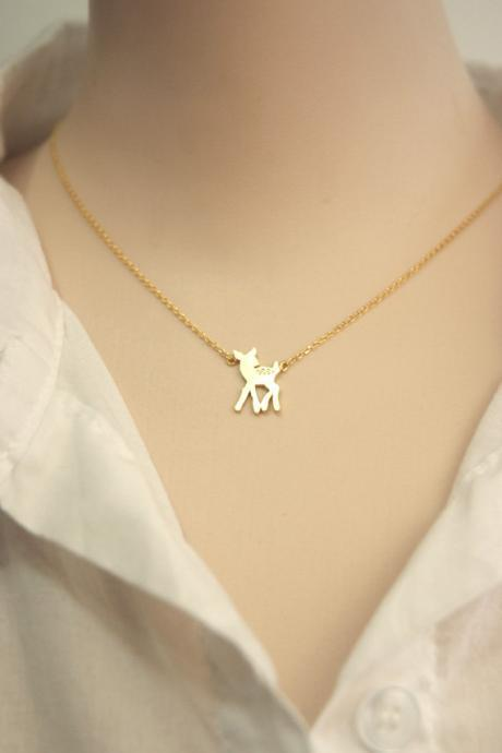 Tiny bambi deer necklace in gold