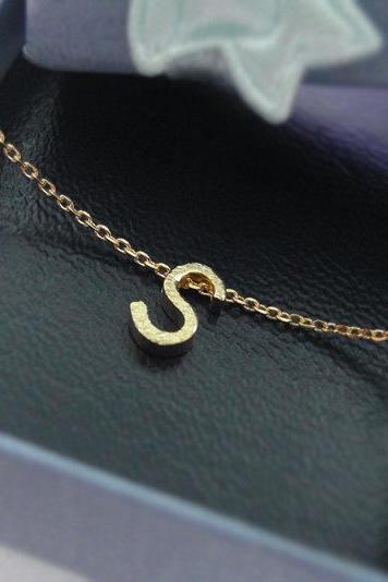 Tiny initial S necklace, personalized necklace, Satin brushed finish