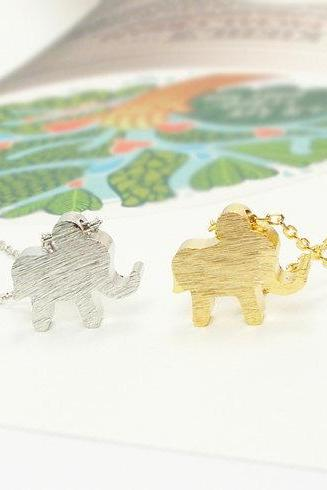 Satin Brushed Elephant Necklace, Elephant Jewelry