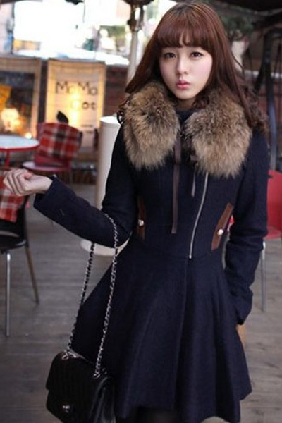 Cheap Korean Style Turndown Collar Long Sleeves Double-breasted Navy Blue Long Wool Coat