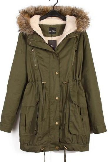 Army Green Button Down Parka Featuring Faux Fur Hoodie and Lining