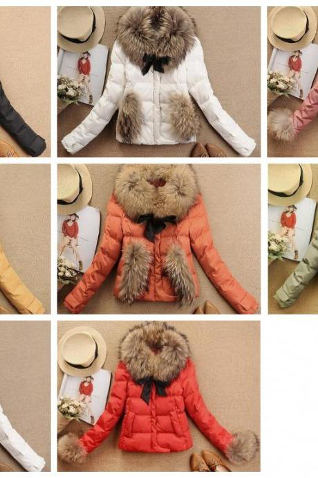 Winter Coat Jacket 7color Luxury Large Raccoon Fur Collar Duck Feather Down Coat Ladies Down Short Jacket Coat