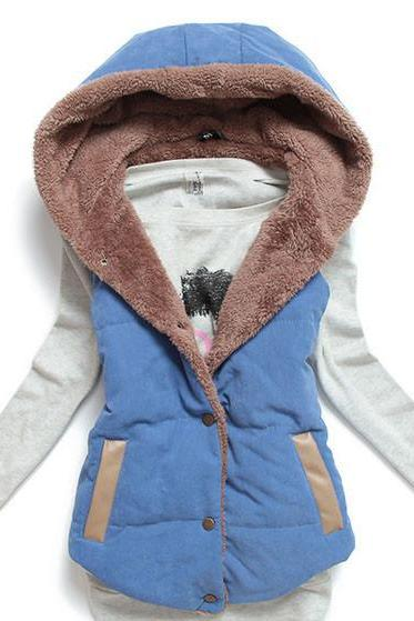 M-Xxxl Plus Size Winter Fashion Women'S Fur Hood Cotton Splicing Thick Warm Coat Jacket Vest