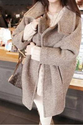 Plus Size Poncho Style Winter Coat Warm Wool Coat Outerwear