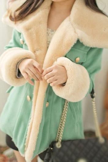 Mint Green Turn down Collar Winter Coat