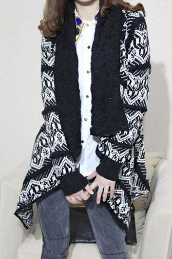Romantic Print Design Long Sleeve Knitting Wool Cardigan - Black