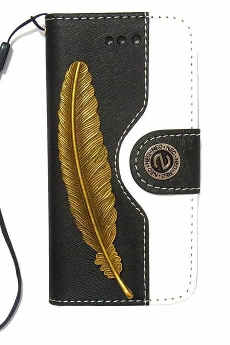 Feather iPhone 5 Wallet case,iphone 5S leather case,Vintage iphone 4 4S Wallet case, iphone 4 Flip Case,Vintage Feather Stripe iPhone 5 5S leather wallet case cover Black White