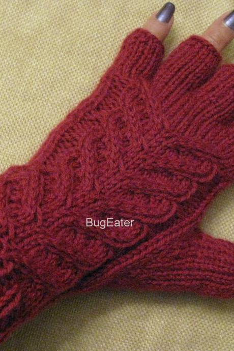 Wool cabled gloves, Hand knit fingerless gloves, Claret gloves