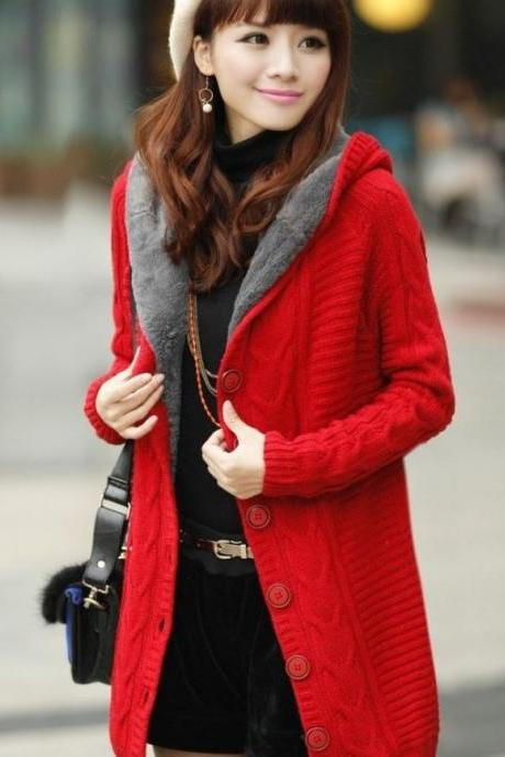 READY FOR SHIPPING RED Cardigan with Super Smooth Faux Fur Lining Red Cotton -Received it after 2-3 days.