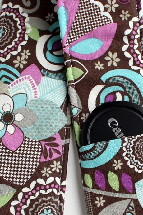 DSLR Camera Strap Cover - Padding and Lens Cap Pocket - Floral Brown Purple Blue
