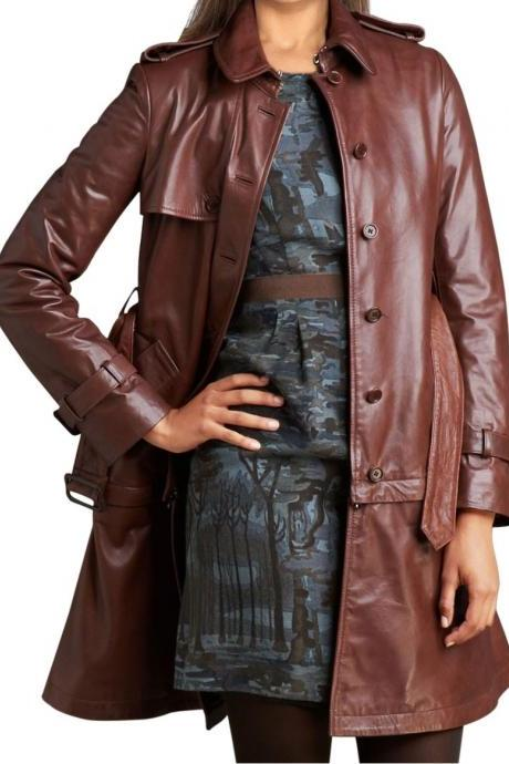 WOMEN LONG COAT, WOMEN LEATHER TRENCH COAT, LONG LEATHER JACKET , WOMENS LEATHER COAT