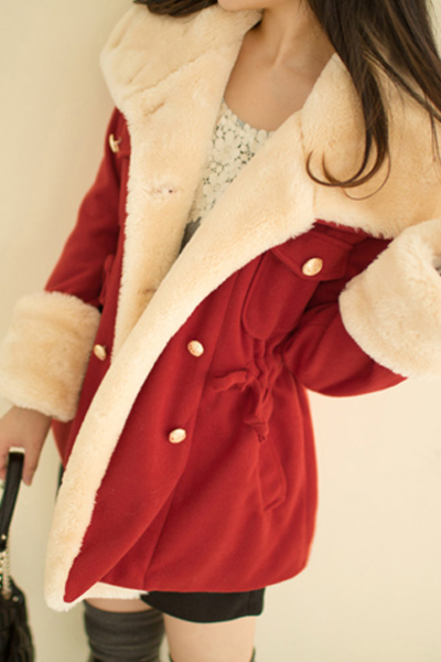Cheap New Style Double-breasted Patchwork Red Regular Parka