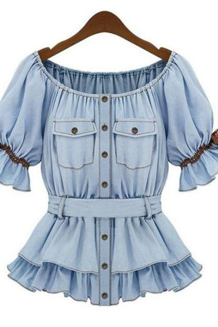 Ready for Shipping-Denim Blouse Ruffled Western American European Style Denim Blouse