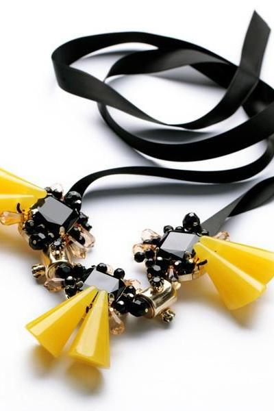 Black and Yellow Crystal Statement Necklace with Ribbon