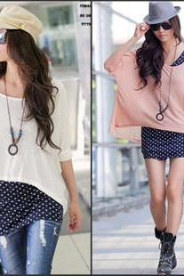 Polka Dot Vest + loose blouse bat MN1031G
