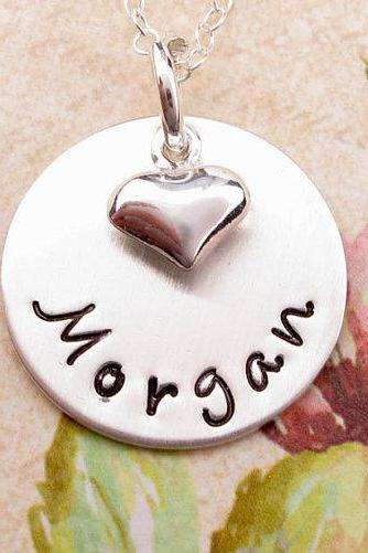 Personalized jewelry necklace custom engraved hand stamped silver charm