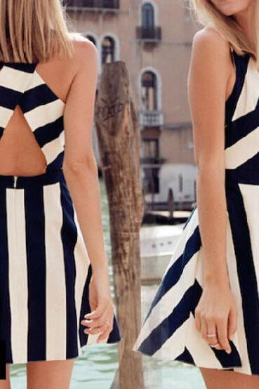 Fashion Striped Halter Dress MN1031BD