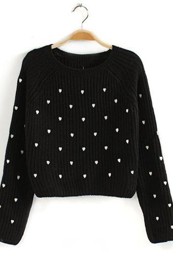 Tiny Heart Shaped Knitted Sweater / Pullover