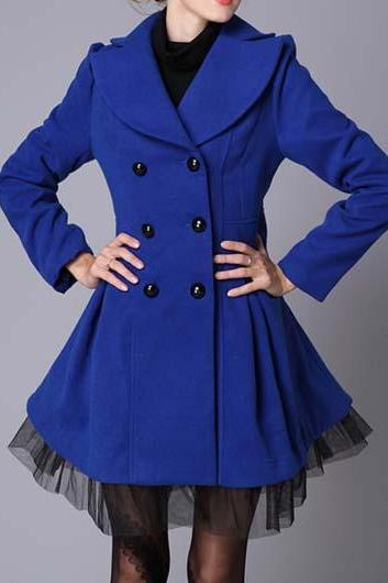 Royal Blue Double Breasted Winter Coat