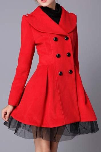 Gorgeous Red Turn down Collar Double Breasted Winter Coat
