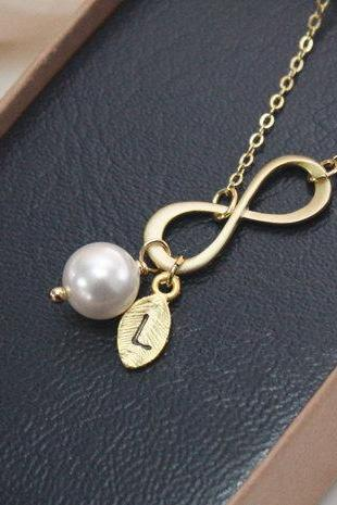 Infinity Necklace with Leaf Initial Charm and Pearl in Matte Gold, Simple and Dainty, Forever, Bridesmaid gift, Best Friend gift, Swarovski