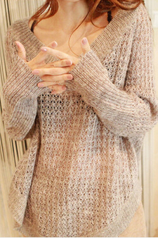 V-Neck Long-Sleeved Loose Knit Sweater Bat