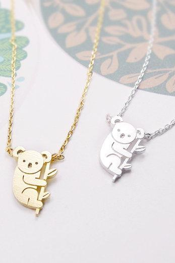 Koala Necklace, Tiny Animal Necklace, Aussie Animal Koala, Funny Necklace