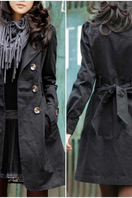 Black Double Breasted Light Trench Coat