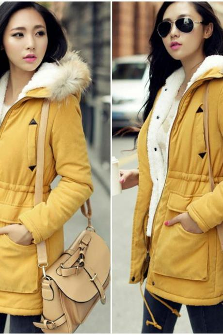 British Style Drawstring Waist Yellow Coats with Faux Fur