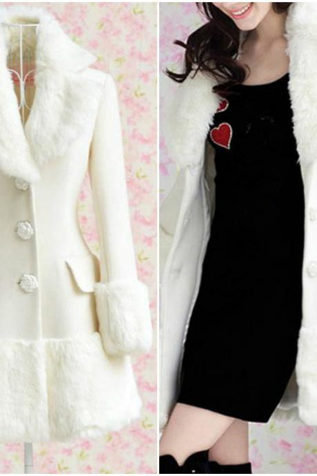 Fitted Long Sleeve White Coat with Faux Fur Decoration