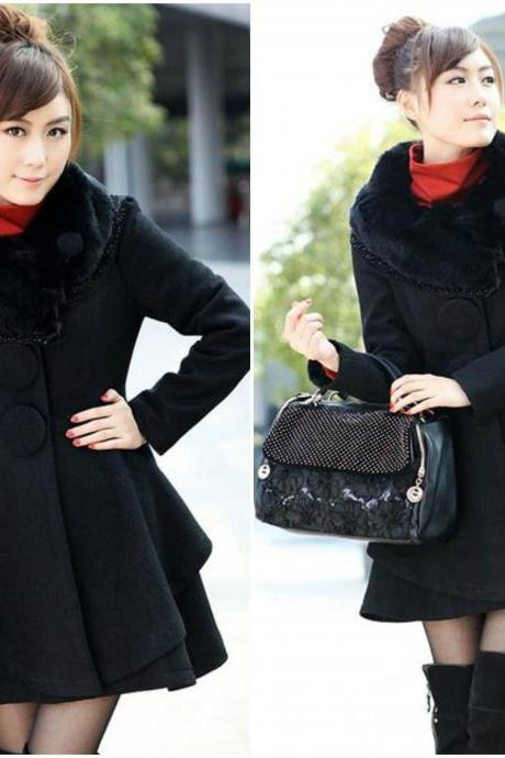 Solid Black Faux Rabbit Hair Collar Long Coat