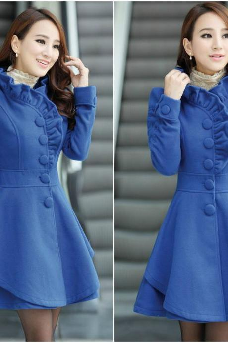 Fashion New Style O neck Long Sleeve Single Breasted Blue Wool Coat