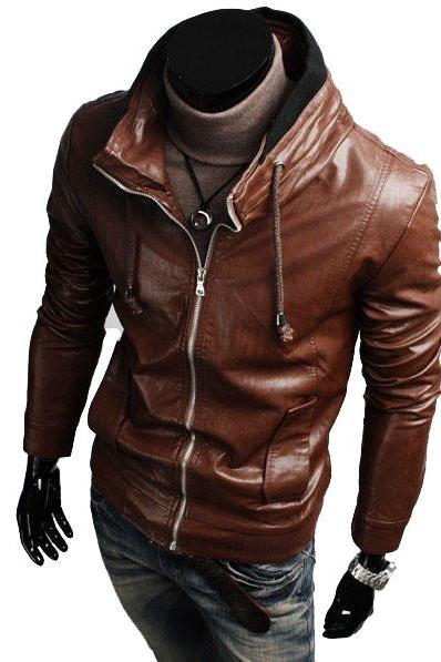 STAND COLLAR MENS BIKER LEATHER JACKET, MEN SLIM FIT BROWN BIKER LEATHER JACKET