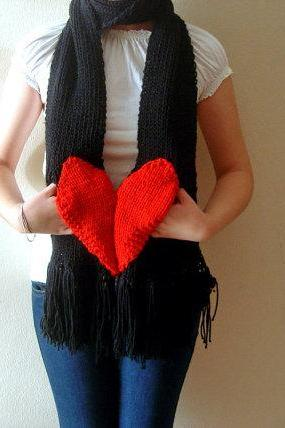Broken Heart Hand Knit Scarf