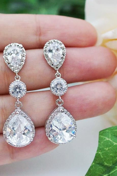 Wedding Bridal Jewelry Bridal Earrings Dangle Earrings cubic zirconia connectors and clear (LUX) cubic zirconia tear drop Bridesmaid Gift