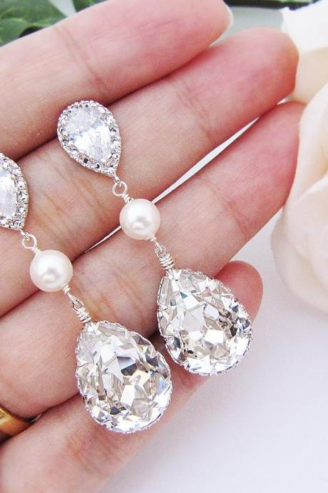 Wedding Jewelry Bridal Earrings Bridesmaid gift Bridesmaid Earrings CZ ear posts with Swarovski Crystal and Pearls drop dangle Earrings