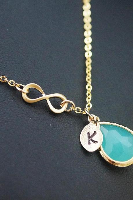 Infinity and mint glass necklace infinity personalized necklace initial necklace monogram christmas gift Bridesmaid Gift Wedding Jewelry