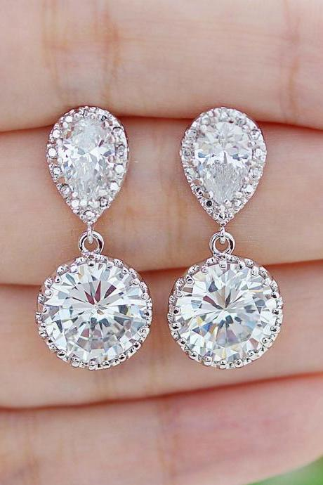 Bridal Earrings Round Cubic Zirconia Drop Earrings Dangle Earrings Wedding Jewelry Bridesmaid Gift Bridal Jewelry Wedding Earrings