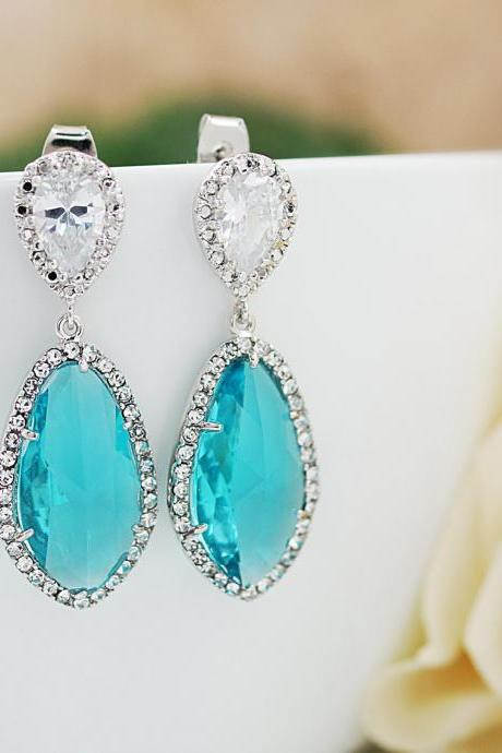 Wedding Jewelry Bridal Earrings Bridesmaid Earrings Dangle Earrings LUX Blue Zircon with cubic zirconia drop Earrings