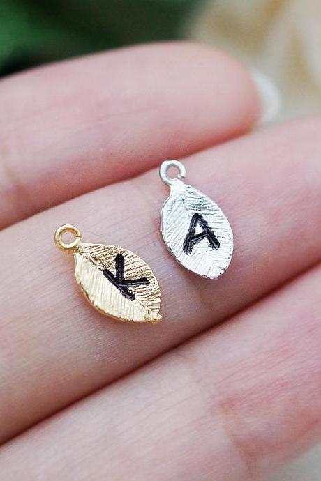ADD a Charm, Personalized Gold or Silver leaf for initial personalized Necklace, Bracelet, extra, Multiple