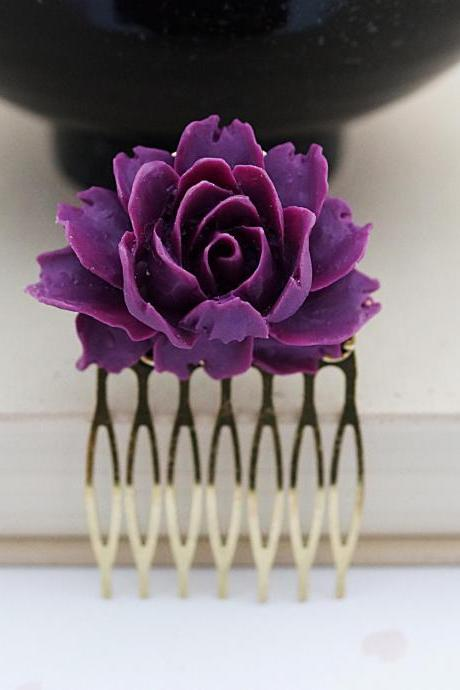 Wedding hair accessories Bridesmaids Gift Wedding Hair Comb Amethyst Rose Flower Bridal Hair Comb gift for her Bridal Hair accessories