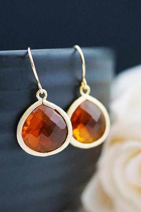 Wedding Jewelry Bridesmaid Jewelry Bridal Earrings Bridesmaid Earrings Dangle Earrings Orange Fire Opal Glass Gold Trimmed Earrings