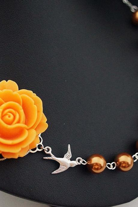 Wedding Jewelry Bridal Necklace Bridesmaid Necklace Orange Rose Flower Cabochon and Copper Swarovski Pearls
