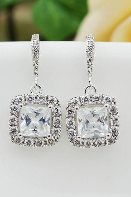 Wedding Bridal Jewelry Bridal Earrings Dangle Earrings clear (LUX) cubic zirconia Halo Style square drop Earrings Bridesmaid Gift