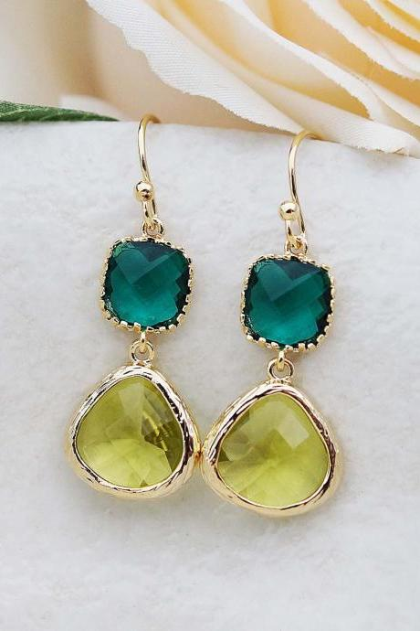 Wedding Jewelry Bridesmaid Earrings Dangle Earrings Gold Framed Olive green and emerald glass drop Earrings