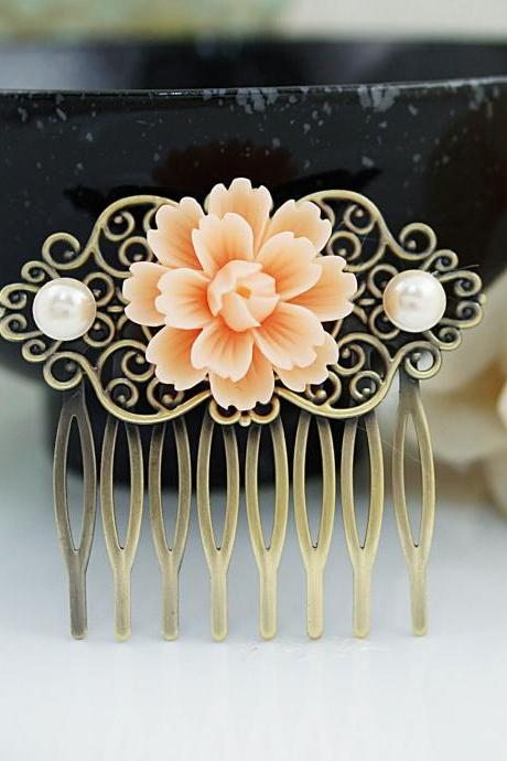 Wedding hair accessories Bridesmaids Gift Wedding Hair Comb Vintage Style Peach Sakura Flower Bridal Hair Comb Bridal Hair accessories