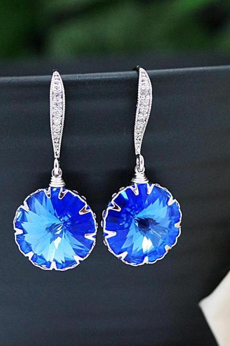 Wedding Jewelry Bridesmaid Jewelry Bridal Earrings Bridesmaid Earrings Dangle Earrings Sapphire Blue Swarovski round Crystal drop Earrings