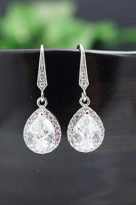 Wedding Jewelry Bridal Jewelry Bridal Earrings Bridesmaid Earrings Lux Cubic Zirconia Tear drop Dangle Earrings Bridesmaid gift